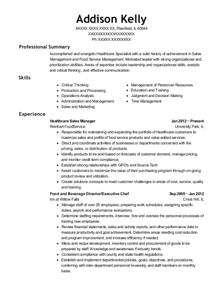 Healthcare Sales Manager resume format Illinois