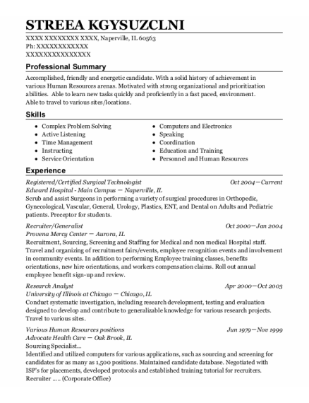Contract Registered Nurse resume example Illinois