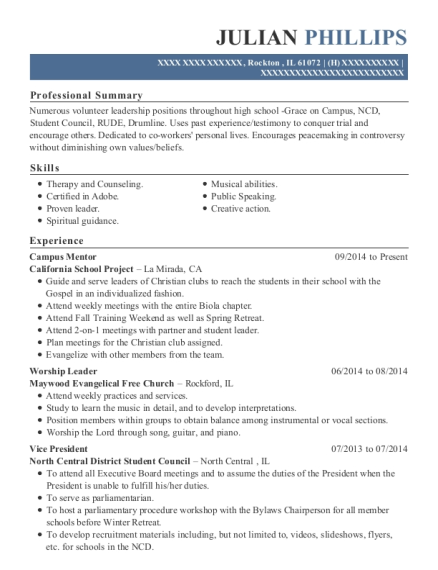 Campus Mentor resume sample Illinois