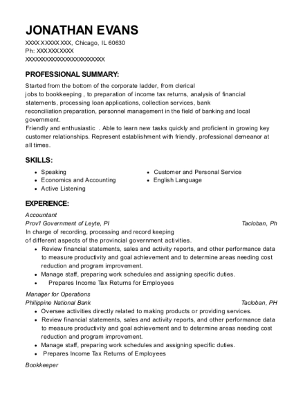 Accountant resume template Illinois