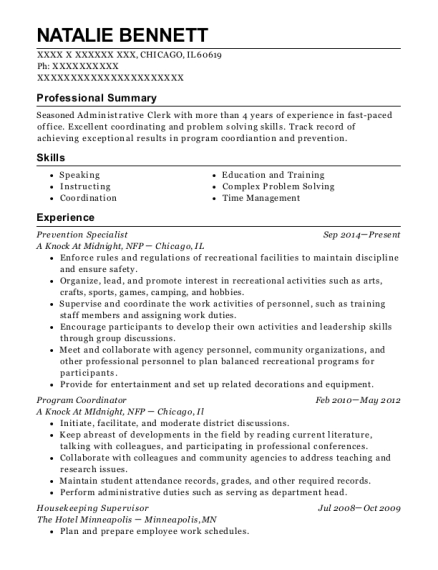 Prevention Specialist resume format Illinois