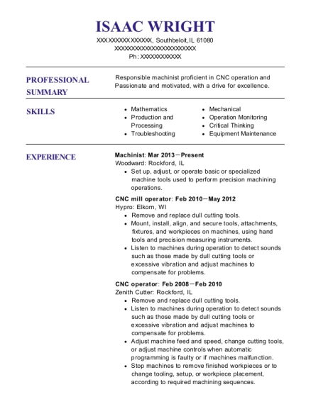 Machinist resume template Illinois
