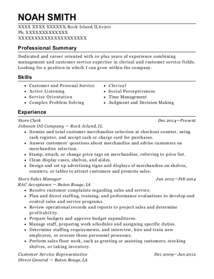 Store Clerk resume format Illinois