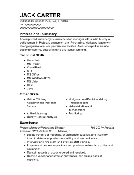 Project Manager resume format Illinois