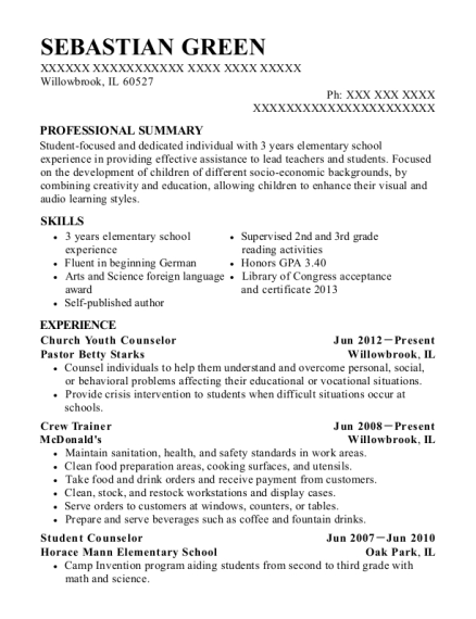 Church Youth Counselor resume sample Illinois
