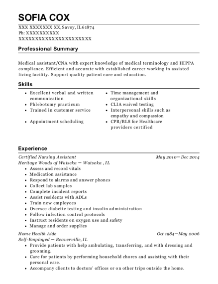 Certified Nursing Assistant resume format Illinois