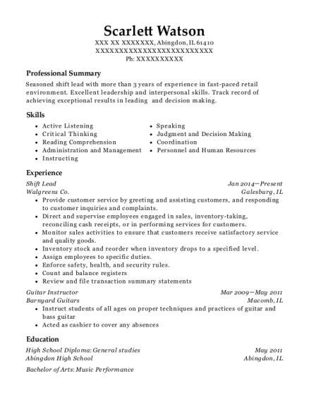 Shift Lead resume sample Illinois