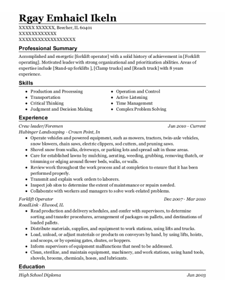 Crew leader resume example Illinois