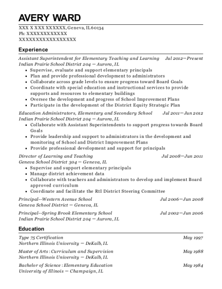 Assistant Superintendent for Elementary Teaching and Learning resume template Illinois