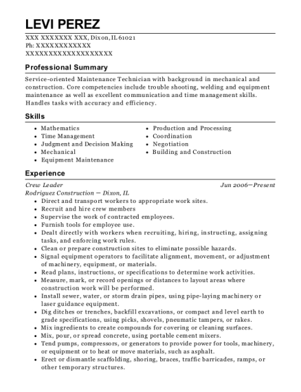 Crew Leader resume sample Illinois