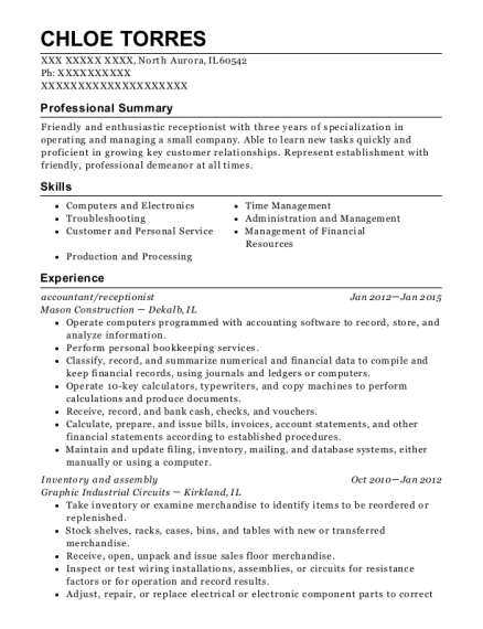 accountant resume sample Illinois