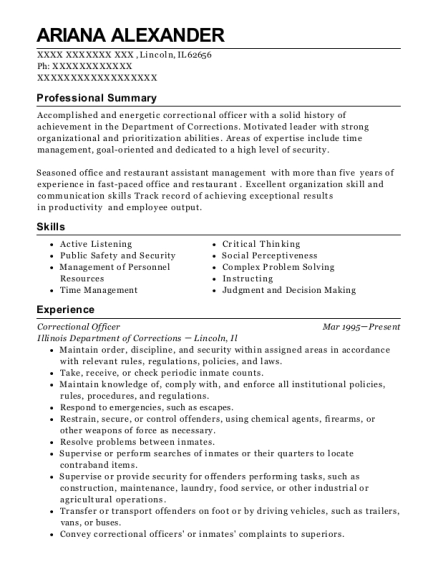 Correctional Officer resume template Illinois