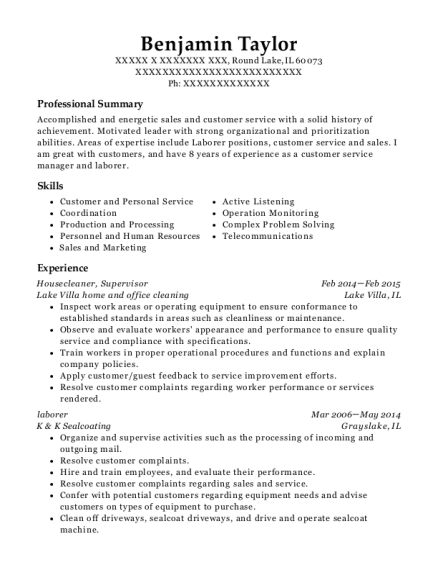 Housecleaner resume template Illinois