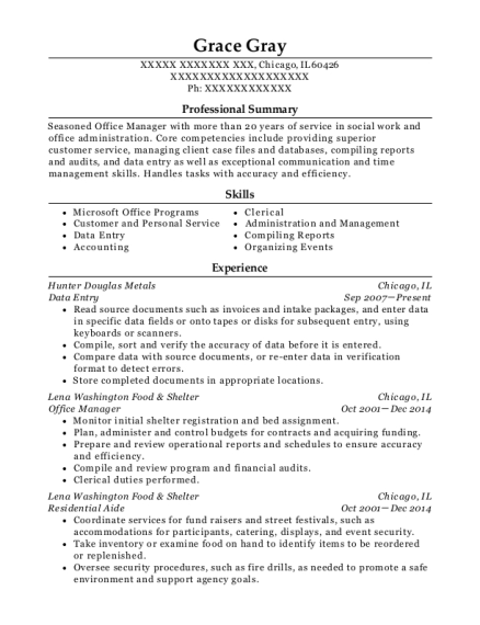 Data Entry resume template Illinois