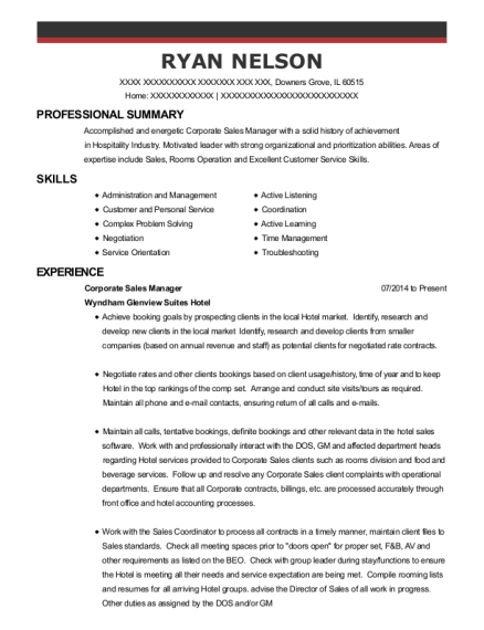 Corporate Sales Manager resume template Illinois