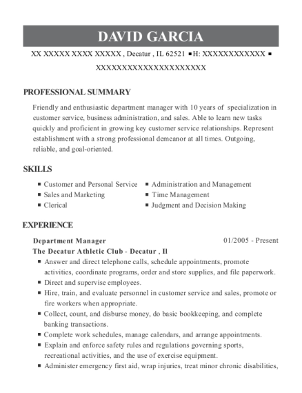 Department Manager resume example Illinois