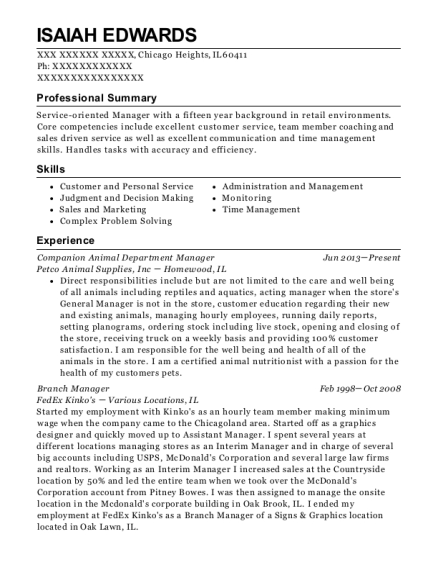 Companion Animal Department Manager resume sample Illinois