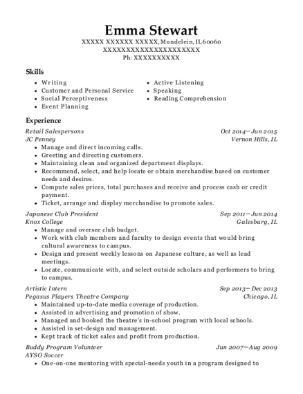 Retail Salespersons resume template Illinois