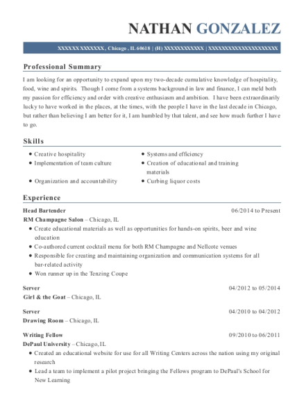 Head Bartender resume example Illinois