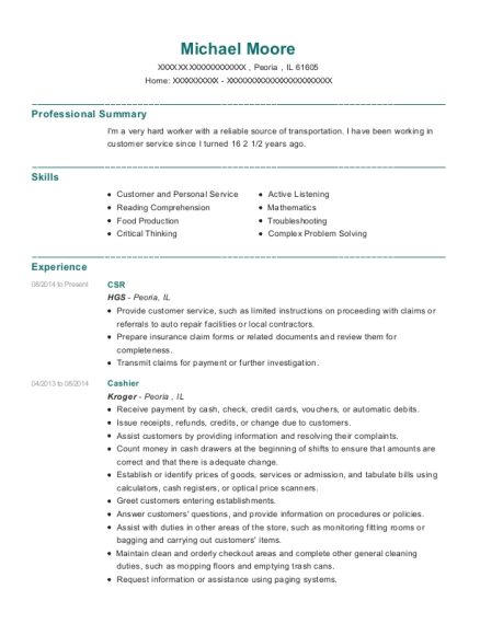 CSR resume sample Illinois