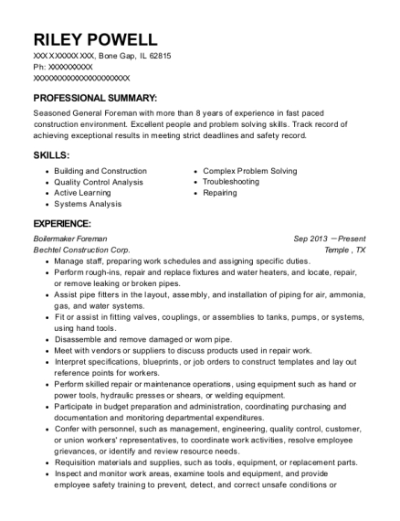 pro siding foreman resume sample