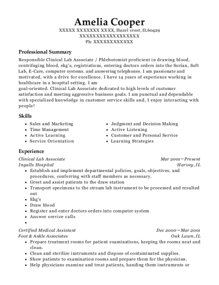 Clinical Lab Associate resume format Illinois