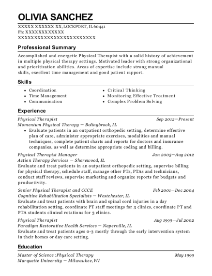 Physical Therapist resume format Illinois