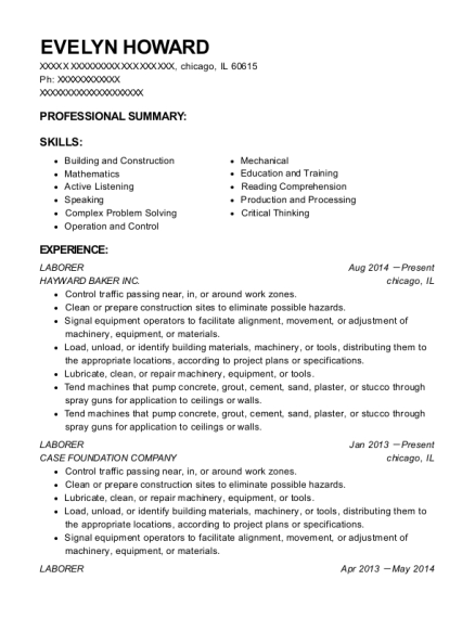 Laborer resume template Illinois