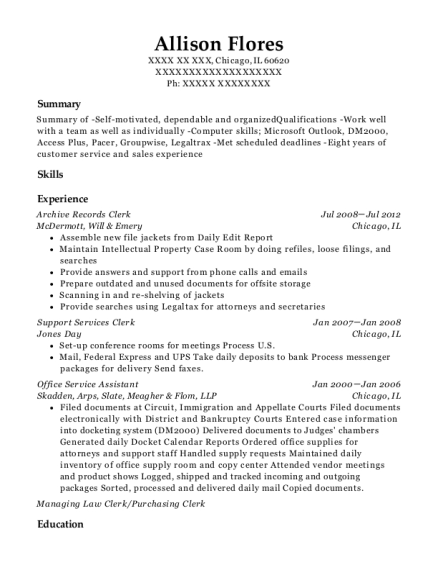 Archive Records Clerk resume format Illinois