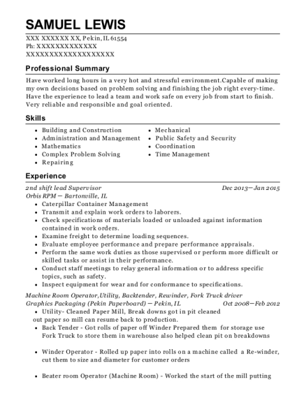 2nd shift lead Supervisor resume sample Illinois