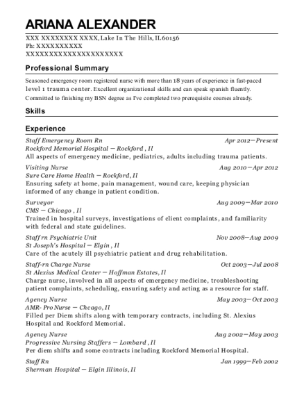 Staff Emergency Room Rn resume template Illinois