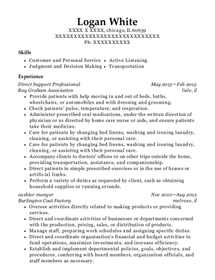 Direct Support Professional resume example Illinois