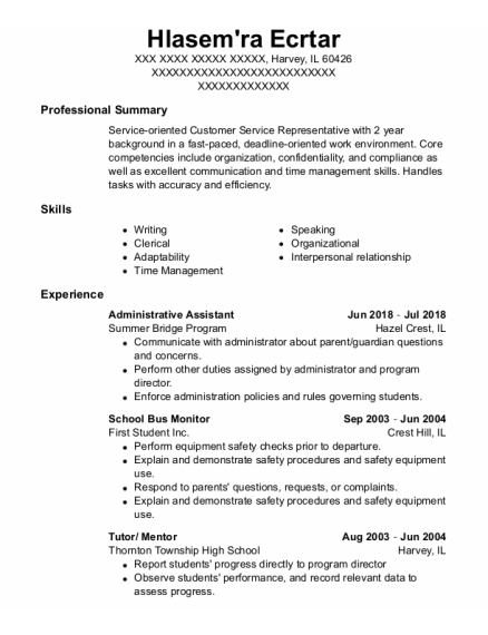 Administrative Assistant resume example Illinois