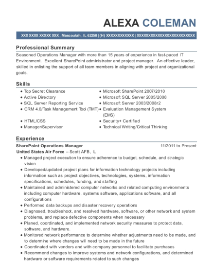 SharePoint Operations Manager resume sample Illinois