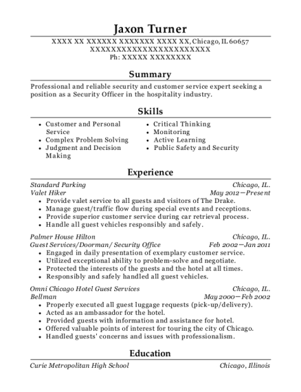 Valet Hiker resume example Illinois