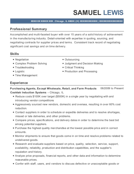 Purchasing Agents resume template Illinois