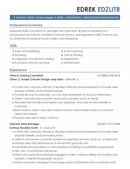 General Sales Manager resume sample Illinois