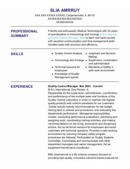 Quality Control Manager resume sample Illinois