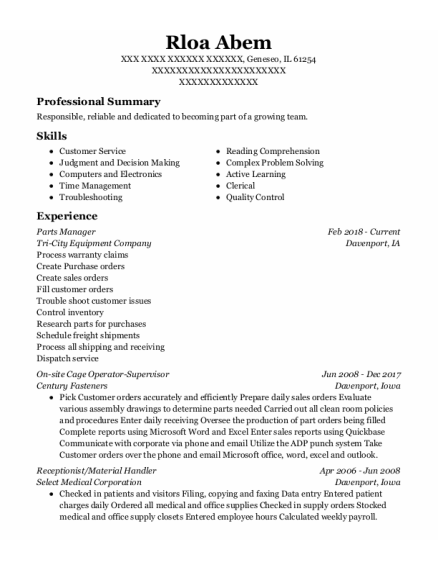 Parts Manager resume template Illinois