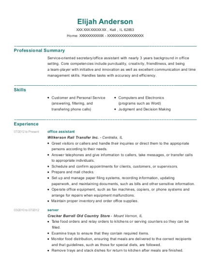 Office Assistant resume template Illinois
