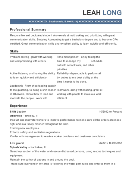 Shift Leader resume example Illinois