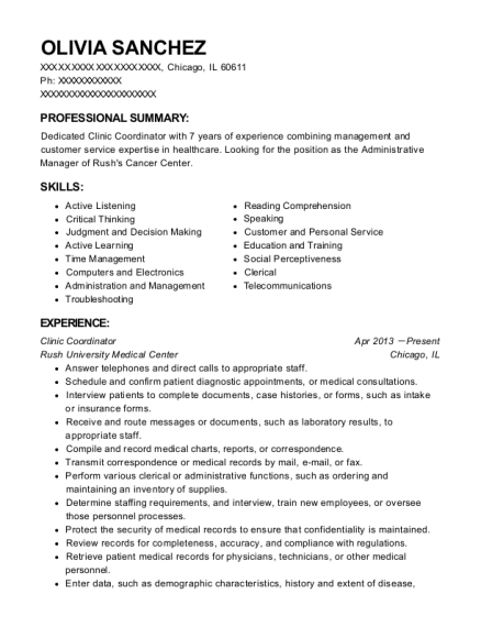 Clinic Coordinator resume sample Illinois