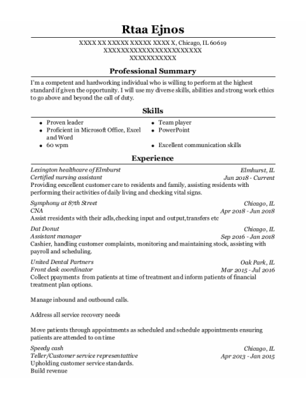 Certified Nursing Assistant resume template Illinois