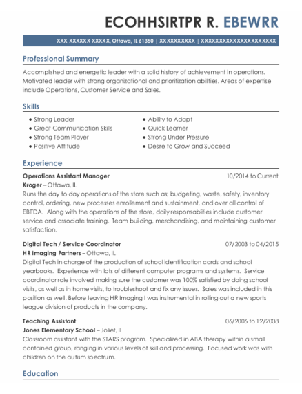Operations Assistant Manager resume example Illinois