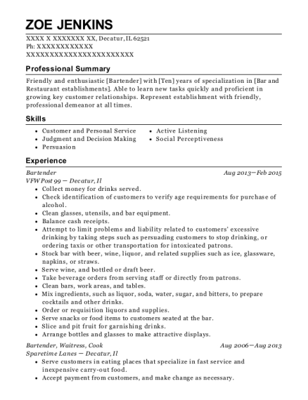 Bartender resume template Illinois