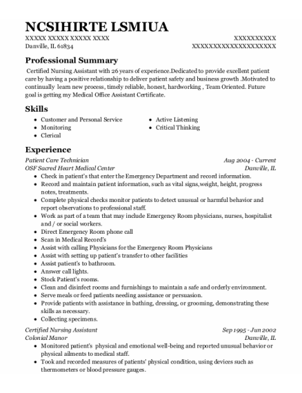 Patient Care Technician resume example Illinois