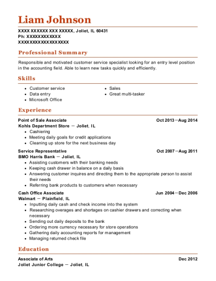 Point of Sale Associate resume format Illinois