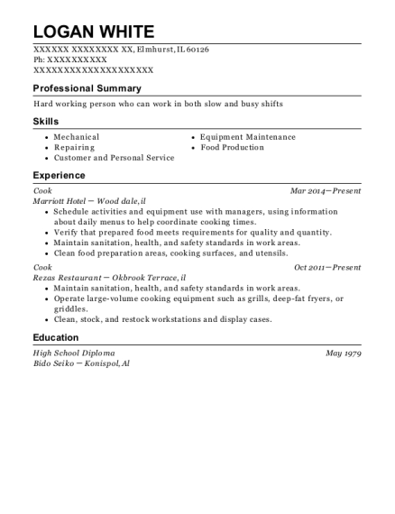 Cook resume sample Illinois