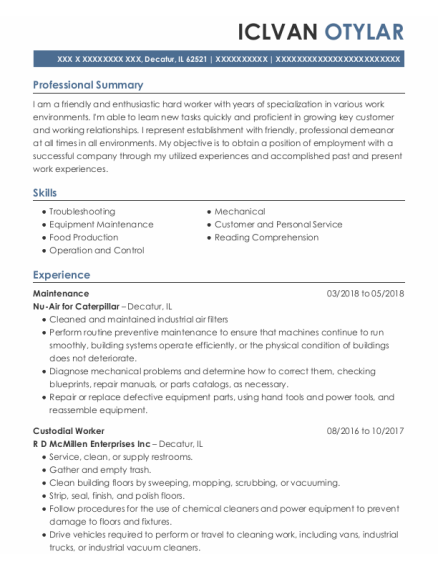 Maintenance resume template Illinois