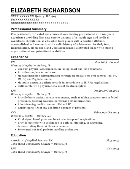 RN resume format Illinois